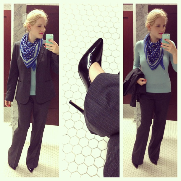 3c568d30e3 J.Crew silk sweater ~ J.Crew Factory printed tissue scarf (seen) ~ ~ Vince  Camuto Kain pumps (buy) ~