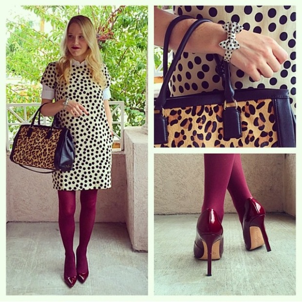 J.Crew Scattered dot optic doc shift dress oxford shirt kiel james patrick Scarlett O'Hara bow bracelet KATE SPADE Kellan LEOPARD Haircalf Hudson Street handbag