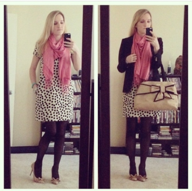 J.Crew Scattered dot optic doc shift dress steve madden bow ravesh kate spade mount perry rumor satchel scarf boy blazer