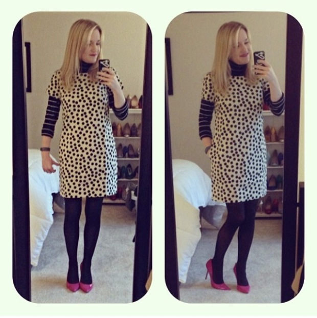 J.Crew Scattered dot optic doc shift dress striped turtleneck black tights hot pink enzo angiolini heels