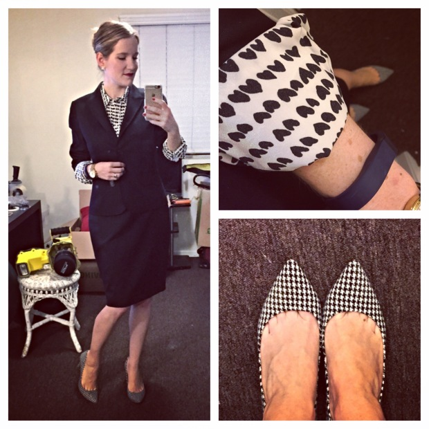 J.Crew 1035 Jacket Pencil Skirt Super 120s wool printed heart blouse Factory Isabelle houndstooth pumps