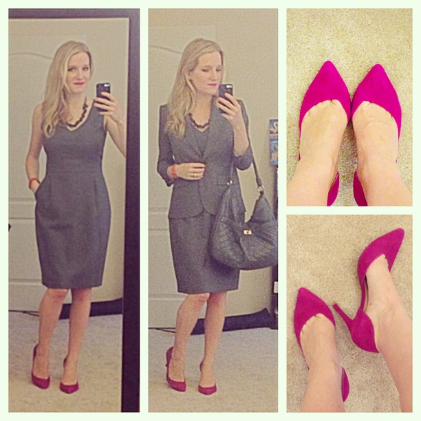 J.Crew Bridget Dress 1035 Jacket Super 120s wool Beaded necklace Chinese Laundry Kristin Cavallari Copertina Heels