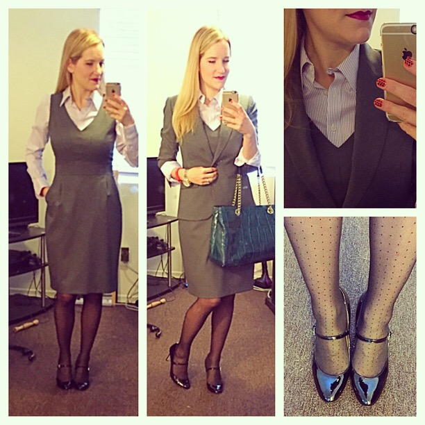 J.Crew Bridget Dress 1035 Jacket Super 120s wool Brooks Brothers Non-Iron Tailored Fit Thin Stripe Dress Shirt Factory dot tights Ivanka Trump Janna Mary Jane Pump Kate Spade Shoulder Bag