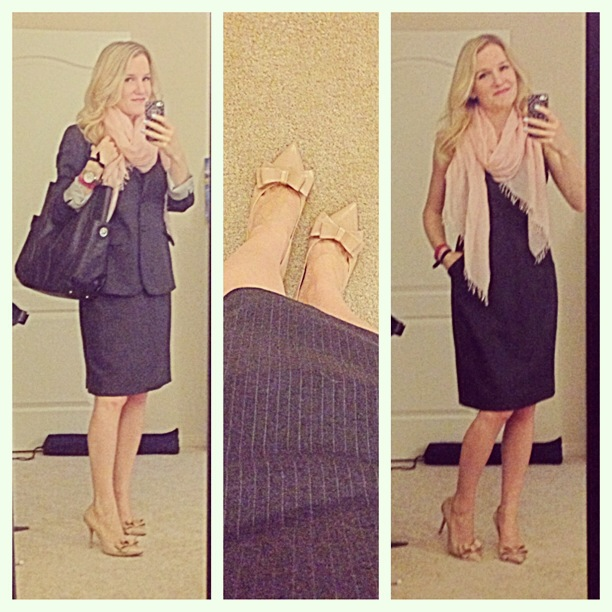J.Crew Emmaleigh Dress 1035 Jacket Super 120s pinstripe wool Steven by Steve Madden Ravesh heels silk blend scarf