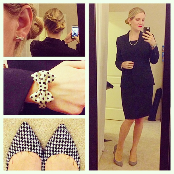 J.Crew Emmaleigh Dress 1035 Jacket Super 120s wool Pearl Necklace KJP Kiel James Patrick Scarlett O'Hara Vickers Bow bracelet Factory Isabelle houndstooth pumps